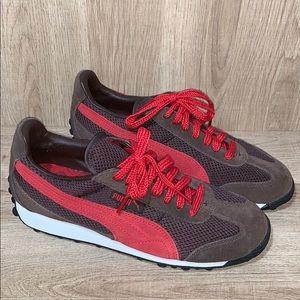 Puma Red/Brown Suede Sneakers